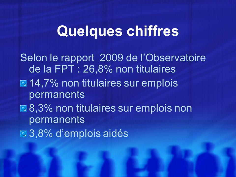 Quelques chiffres Selon le rapport 2009 de lObservatoire de la FPT : 26,8% non titulaires 14,7% non titulaires sur emplois permanents 8,3% non titulaires sur emplois non permanents 3,8% demplois aidés