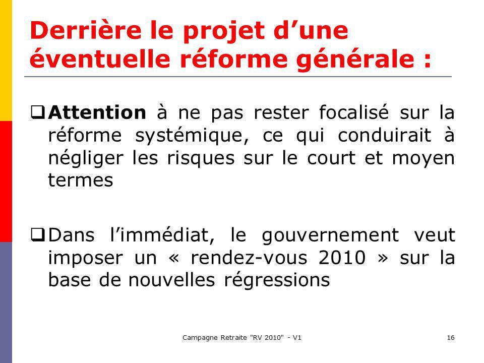 Campagne Retraite RV 2010 - V116 Derrière le projet dune éventuelle réforme générale : Attention à ne pas rester focalisé sur la réforme systémique, ce qui conduirait à négliger les risques sur le court et moyen termes Dans limmédiat, le gouvernement veut imposer un « rendez-vous 2010 » sur la base de nouvelles régressions