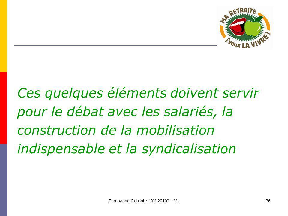 Campagne Retraite RV 2010 - V136 Ces quelques éléments doivent servir pour le débat avec les salariés, la construction de la mobilisation indispensable et la syndicalisation