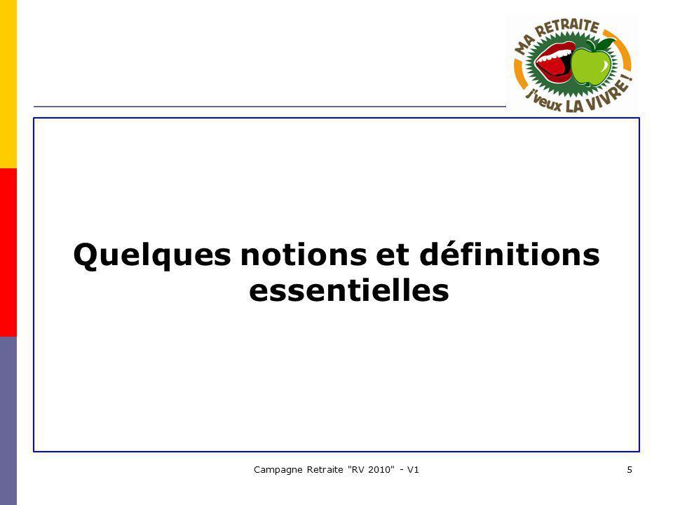Campagne Retraite RV 2010 - V15 Quelques notions et définitions essentielles