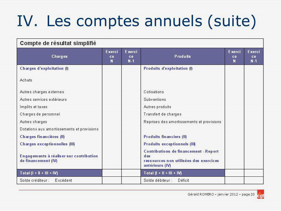Gérald ROMERO – janvier 2012 – page 20 IV.Les comptes annuels (suite)