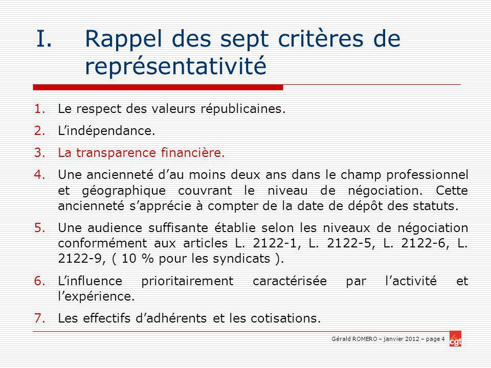Gérald ROMERO – janvier 2012 – page 4 I.Rappel des sept critères de représentativité 1.Le respect des valeurs républicaines.