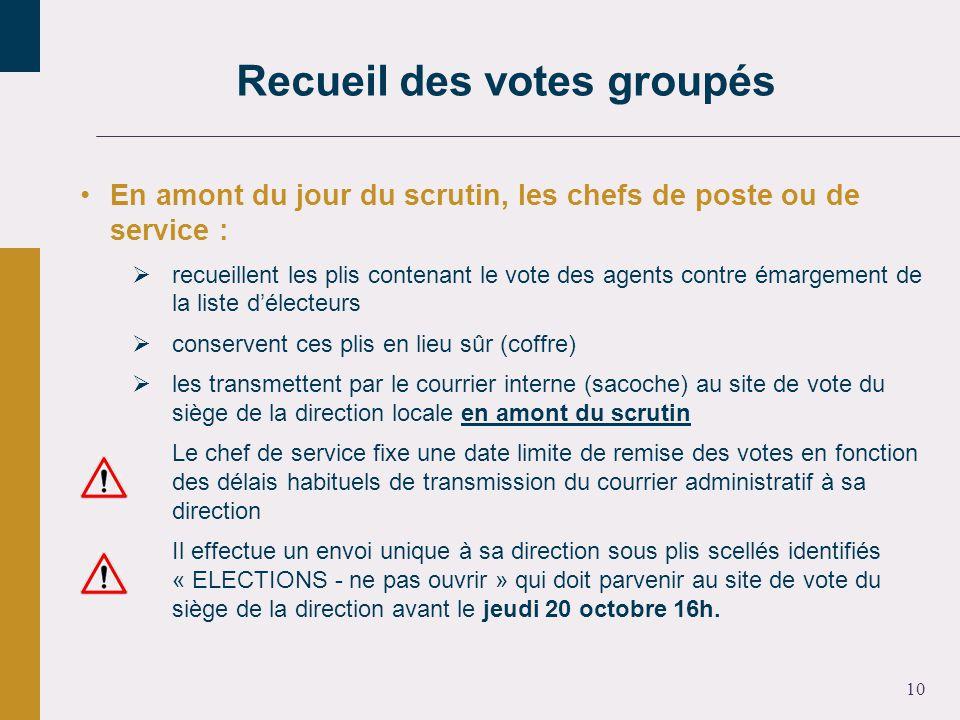10 En amont du jour du scrutin, les chefs de poste ou de service : recueillent les plis contenant le vote des agents contre émargement de la liste dél