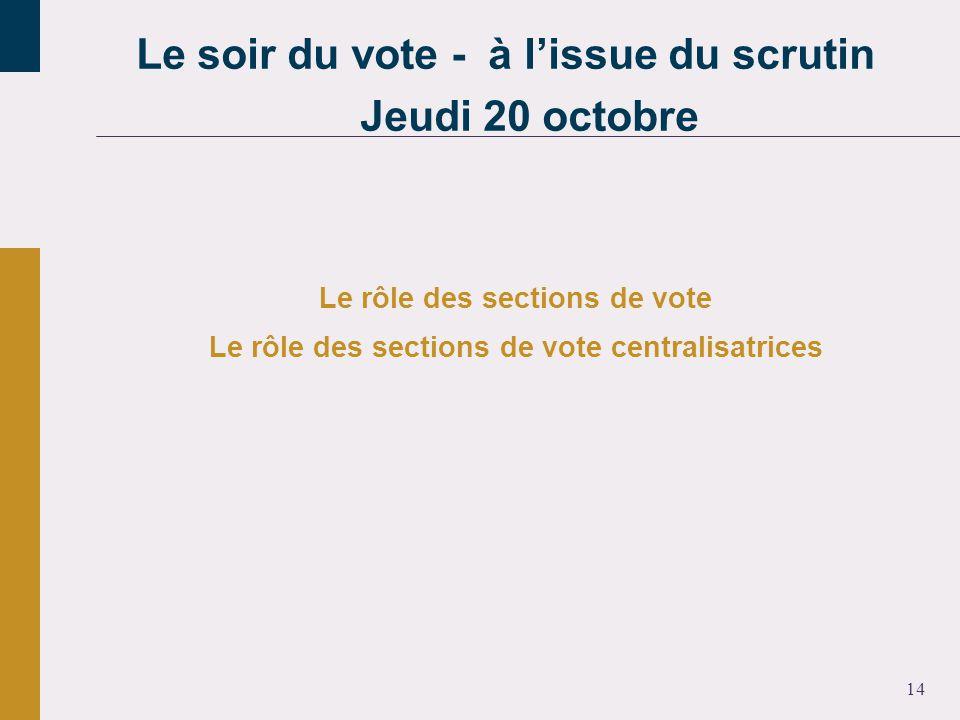 14 Le rôle des sections de vote Le rôle des sections de vote centralisatrices Le soir du vote - à lissue du scrutin Jeudi 20 octobre