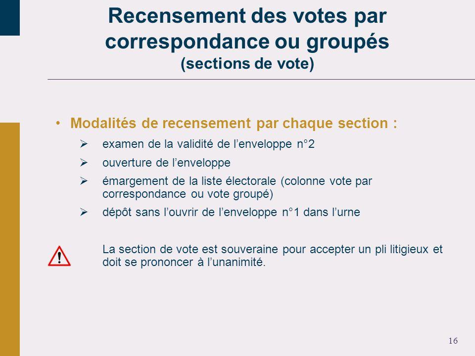 16 Modalités de recensement par chaque section : examen de la validité de lenveloppe n°2 ouverture de lenveloppe émargement de la liste électorale (co