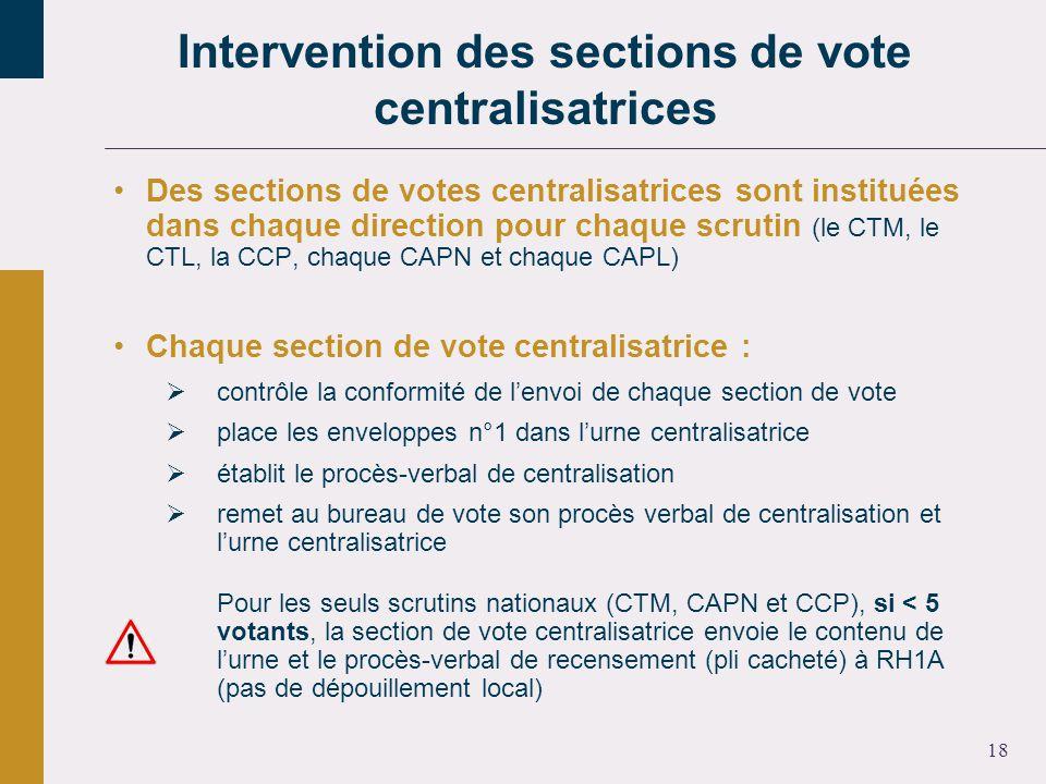 18 Des sections de votes centralisatrices sont instituées dans chaque direction pour chaque scrutin (le CTM, le CTL, la CCP, chaque CAPN et chaque CAPL) Chaque section de vote centralisatrice : contrôle la conformité de lenvoi de chaque section de vote place les enveloppes n°1 dans lurne centralisatrice établit le procès-verbal de centralisation remet au bureau de vote son procès verbal de centralisation et lurne centralisatrice Pour les seuls scrutins nationaux (CTM, CAPN et CCP), si < 5 votants, la section de vote centralisatrice envoie le contenu de lurne et le procès-verbal de recensement (pli cacheté) à RH1A (pas de dépouillement local) Intervention des sections de vote centralisatrices
