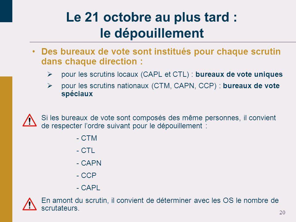 20 Des bureaux de vote sont institués pour chaque scrutin dans chaque direction : pour les scrutins locaux (CAPL et CTL) : bureaux de vote uniques pour les scrutins nationaux (CTM, CAPN, CCP) : bureaux de vote spéciaux Si les bureaux de vote sont composés des même personnes, il convient de respecter lordre suivant pour le dépouillement : - CTM - CTL - CAPN - CCP - CAPL En amont du scrutin, il convient de déterminer avec les OS le nombre de scrutateurs.