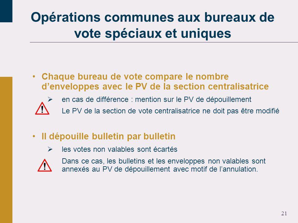 21 Chaque bureau de vote compare le nombre denveloppes avec le PV de la section centralisatrice en cas de différence : mention sur le PV de dépouillem