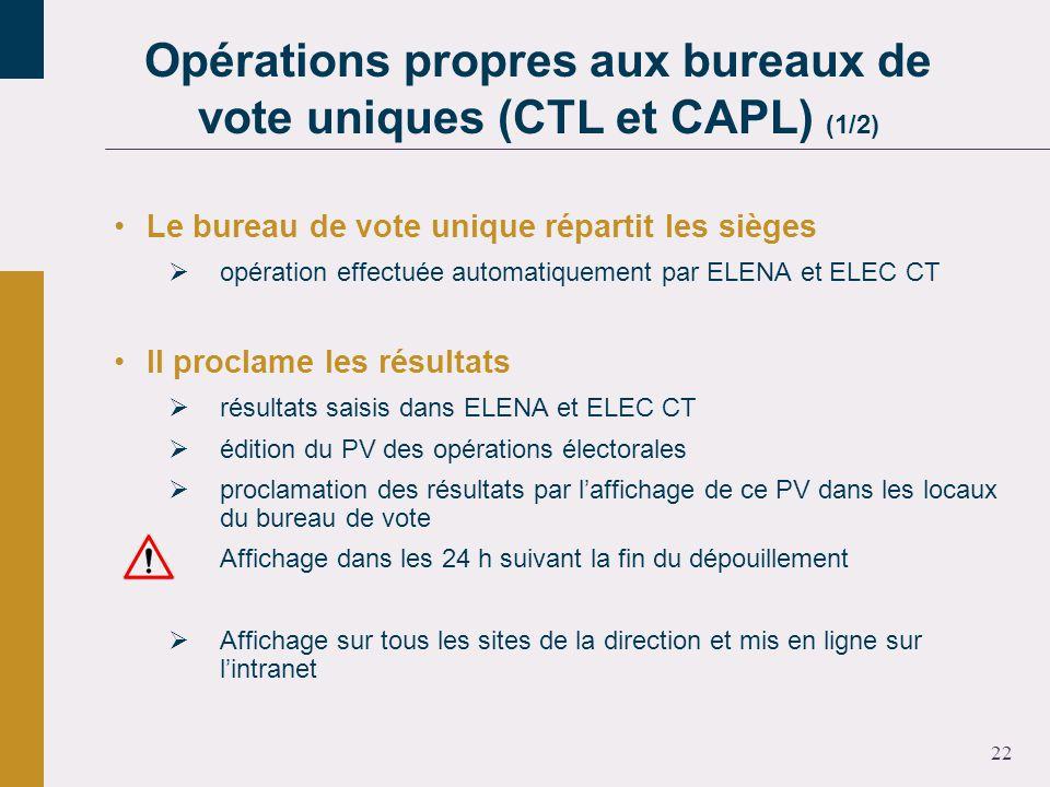 22 Le bureau de vote unique répartit les sièges opération effectuée automatiquement par ELENA et ELEC CT Il proclame les résultats résultats saisis dans ELENA et ELEC CT édition du PV des opérations électorales proclamation des résultats par laffichage de ce PV dans les locaux du bureau de vote Affichage dans les 24 h suivant la fin du dépouillement Affichage sur tous les sites de la direction et mis en ligne sur lintranet Opérations propres aux bureaux de vote uniques (CTL et CAPL) (1/2)