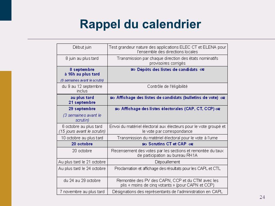 24 Rappel du calendrier