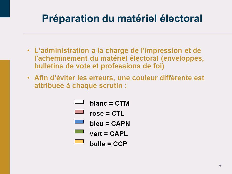 7 Ladministration a la charge de limpression et de lacheminement du matériel électoral (enveloppes, bulletins de vote et professions de foi) Afin déviter les erreurs, une couleur différente est attribuée à chaque scrutin : Préparation du matériel électoral