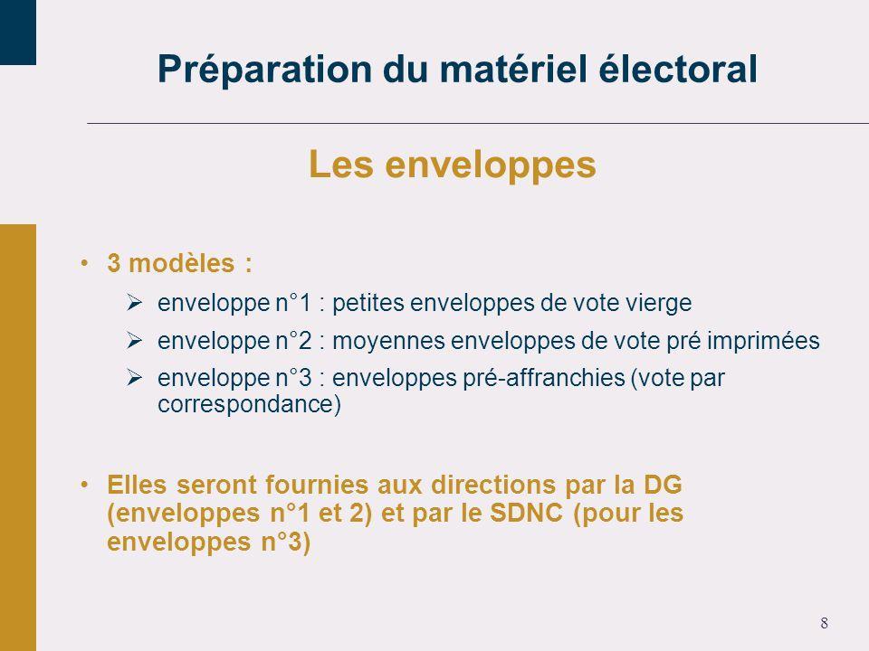 8 Les enveloppes 3 modèles : enveloppe n°1 : petites enveloppes de vote vierge enveloppe n°2 : moyennes enveloppes de vote pré imprimées enveloppe n°3 : enveloppes pré-affranchies (vote par correspondance) Elles seront fournies aux directions par la DG (enveloppes n°1 et 2) et par le SDNC (pour les enveloppes n°3) Préparation du matériel électoral
