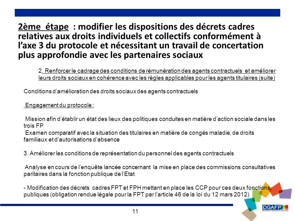 11 2ème étape : modifier les dispositions des décrets cadres relatives aux droits individuels et collectifs conformément à laxe 3 du protocole et nécessitant un travail de concertation plus approfondie avec les partenaires sociaux 2.