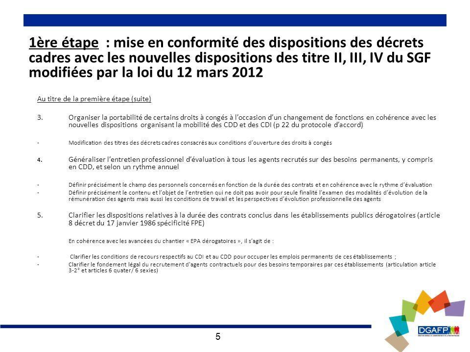 5 1ère étape : mise en conformité des dispositions des décrets cadres avec les nouvelles dispositions des titre II, III, IV du SGF modifiées par la loi du 12 mars 2012 Au titre de la première étape (suite) 3.