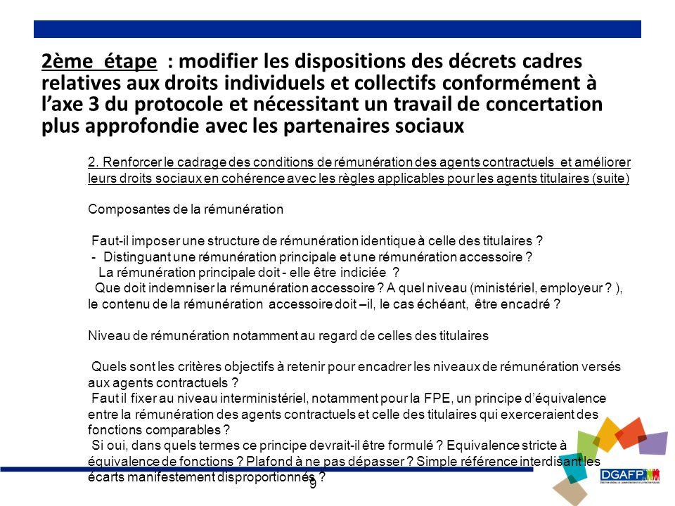 10 2ème étape : modifier les dispositions des décrets cadres relatives aux droits individuels et collectifs conformément à laxe 3 du protocole et nécessitant un travail de concertation plus approfondie avec les partenaires sociaux 2.