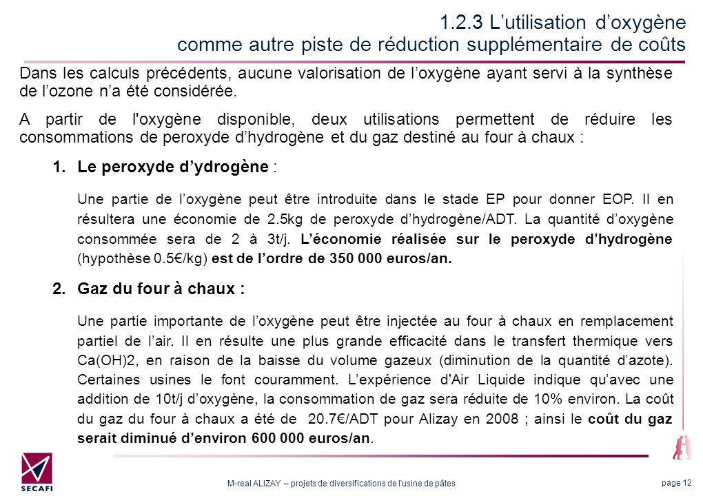 M-real ALIZAY – projets de diversifications de l usine de pâtes page 12 1.2.3 Lutilisation doxygène comme autre piste de réduction supplémentaire de coûts Dans les calculs précédents, aucune valorisation de loxygène ayant servi à la synthèse de lozone na été considérée.