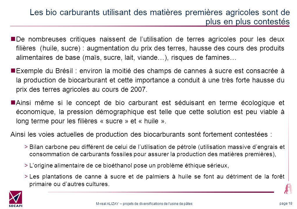 M-real ALIZAY – projets de diversifications de l usine de pâtes page 18 De nombreuses critiques naissent de lutilisation de terres agricoles pour les deux filières (huile, sucre) : augmentation du prix des terres, hausse des cours des produits alimentaires de base (maïs, sucre, lait, viande…), risques de famines… Exemple du Brésil : environ la moitié des champs de cannes à sucre est consacrée à la production de biocarburant et cette importance a conduit à une très forte hausse du prix des terres agricoles au cours de 2007.