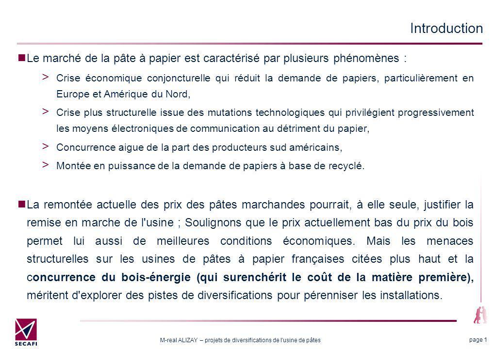 M-real ALIZAY – projets de diversifications de l usine de pâtes page 22 2.3 Coût de revient et cours du bio éthanol Le coût de revient du bioéthanol (frais variables en /litre, hors enzymes) ainsi produit serait de 2,5 X si X est le coût de la pâte écrue en /kg.