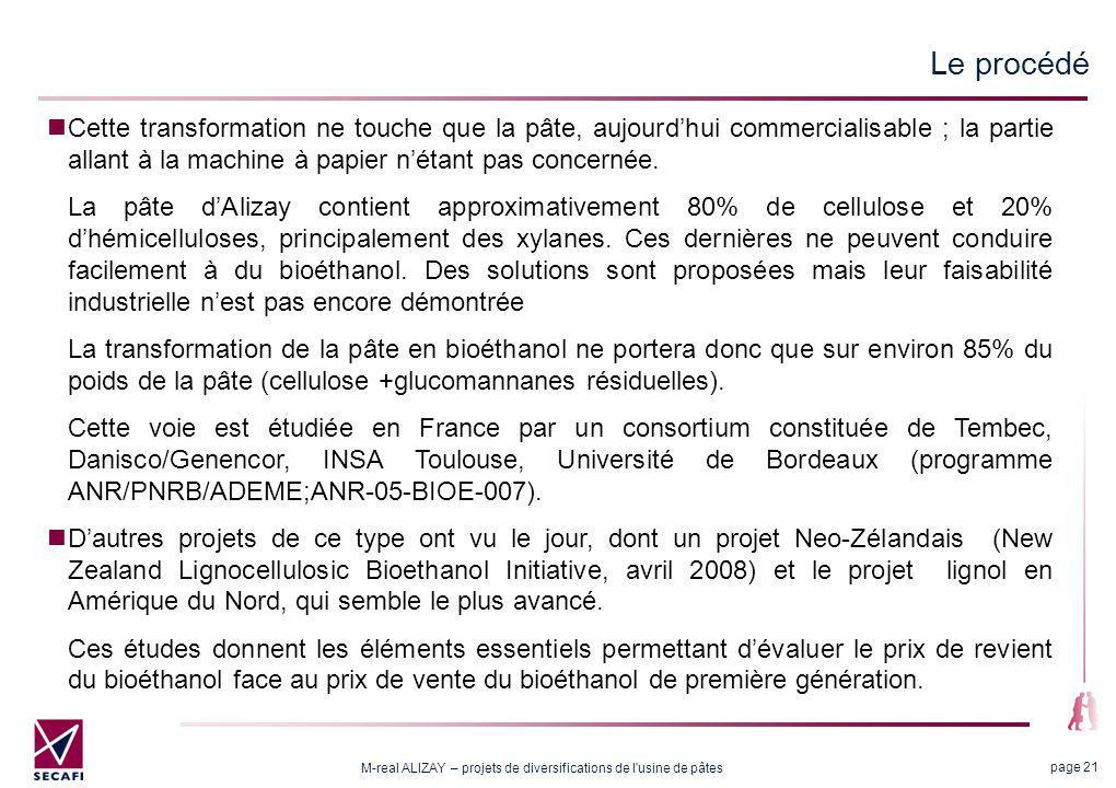 M-real ALIZAY – projets de diversifications de l'usine de pâtes page 21 Cette transformation ne touche que la pâte, aujourdhui commercialisable ; la p