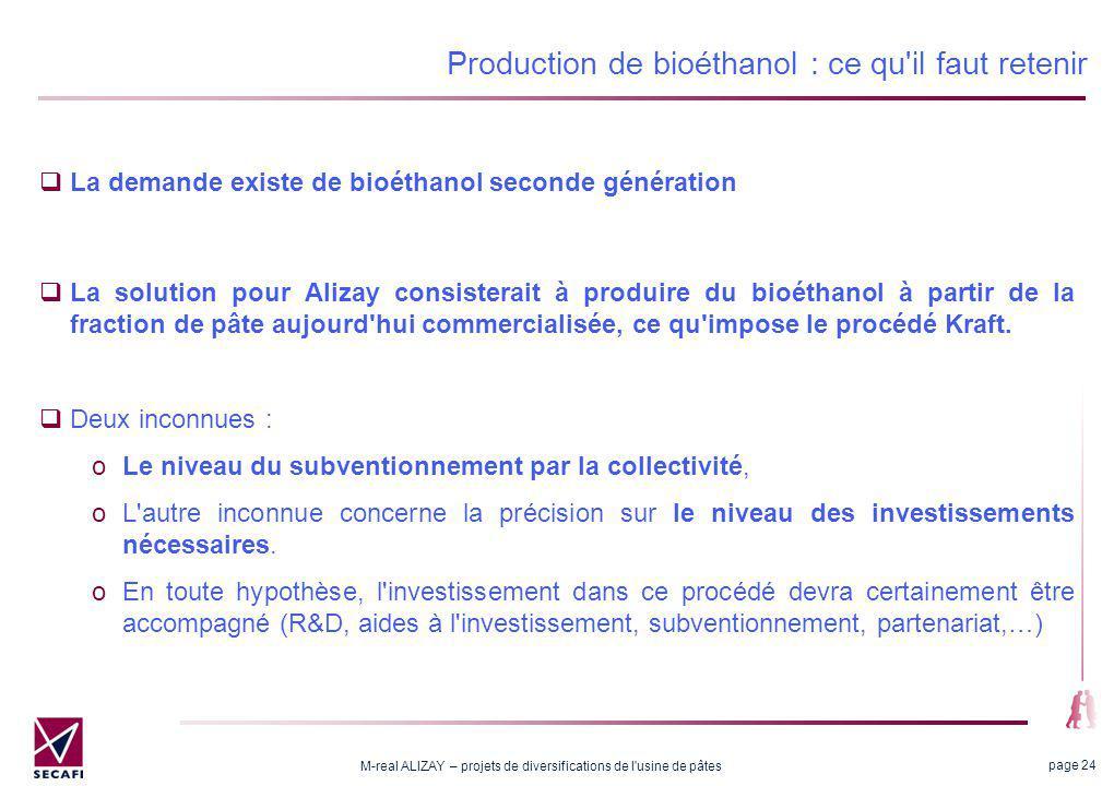 M-real ALIZAY – projets de diversifications de l usine de pâtes page 24 Production de bioéthanol : ce qu il faut retenir La demande existe de bioéthanol seconde génération La solution pour Alizay consisterait à produire du bioéthanol à partir de la fraction de pâte aujourd hui commercialisée, ce qu impose le procédé Kraft.