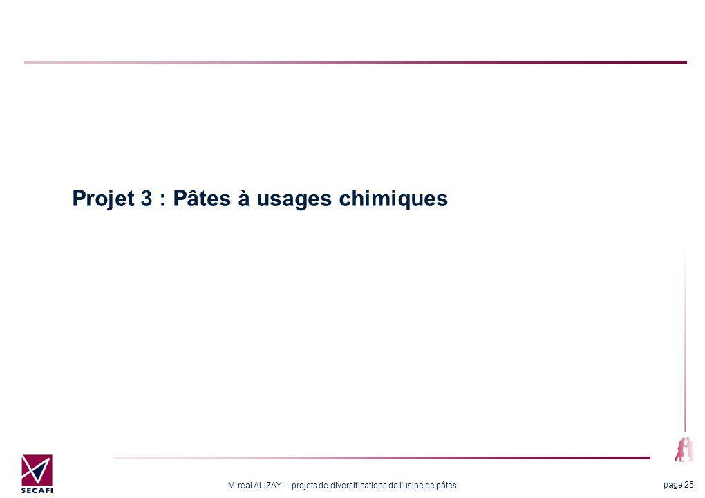 M-real ALIZAY – projets de diversifications de l usine de pâtes page 25 Projet 3 : Pâtes à usages chimiques