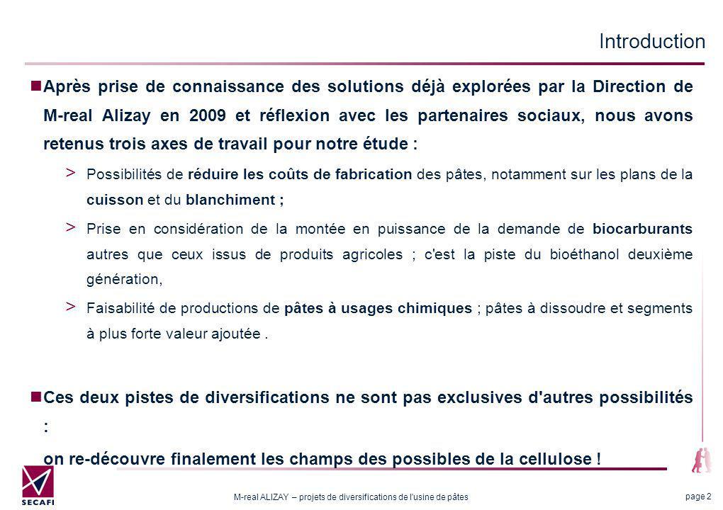 M-real ALIZAY – projets de diversifications de l'usine de pâtes page 2 Introduction Après prise de connaissance des solutions déjà explorées par la Di