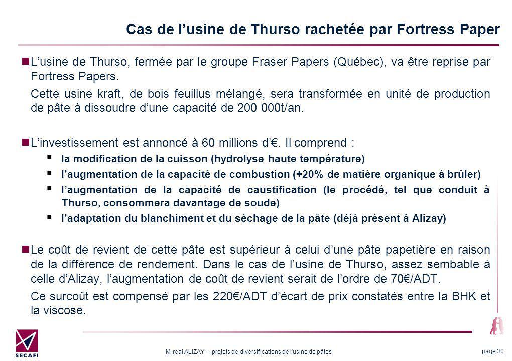 M-real ALIZAY – projets de diversifications de l usine de pâtes page 30 Cas de lusine de Thurso rachetée par Fortress Paper Lusine de Thurso, fermée par le groupe Fraser Papers (Québec), va être reprise par Fortress Papers.
