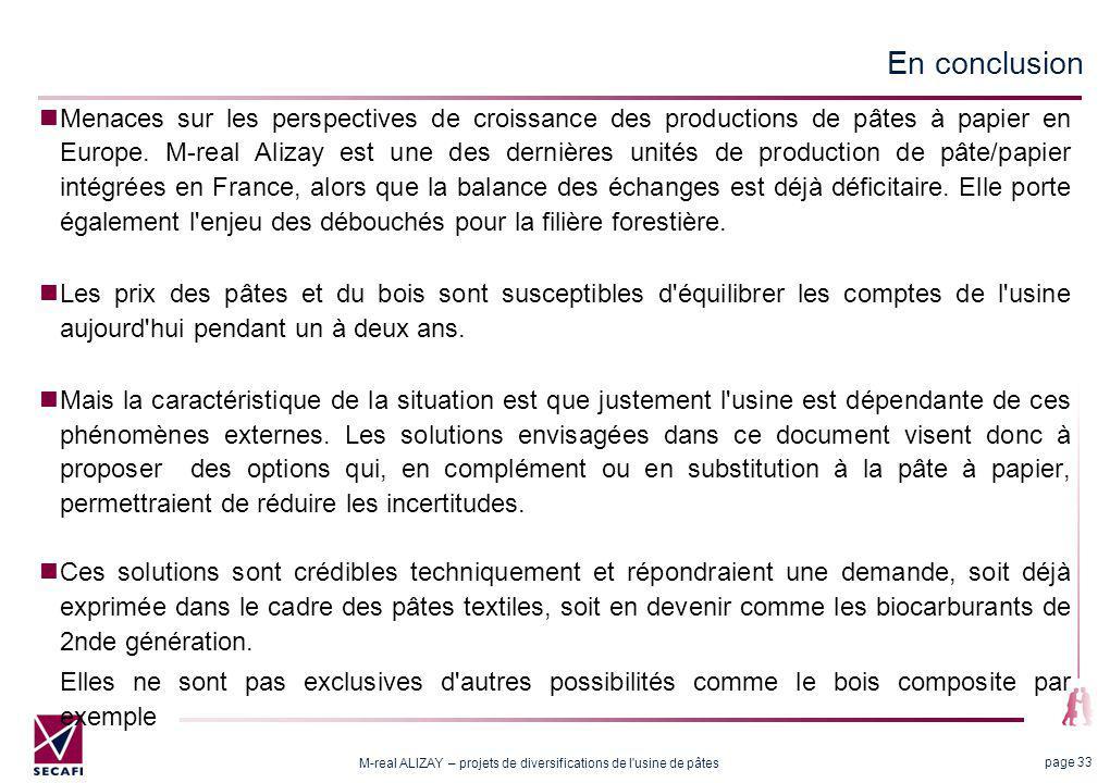M-real ALIZAY – projets de diversifications de l usine de pâtes page 33 En conclusion Menaces sur les perspectives de croissance des productions de pâtes à papier en Europe.