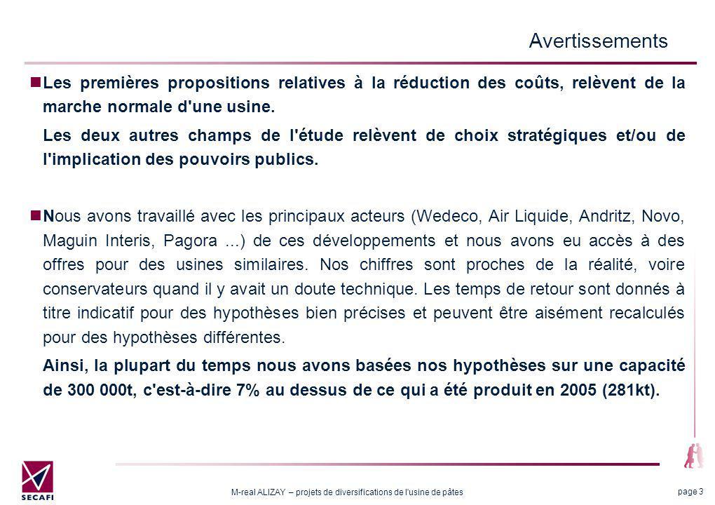 M-real ALIZAY – projets de diversifications de l'usine de pâtes page 3 Avertissements Les premières propositions relatives à la réduction des coûts, r