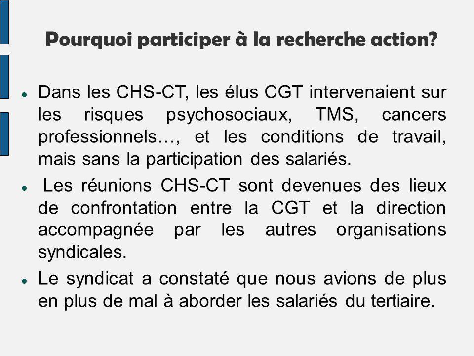 Pourquoi participer à la recherche action? Dans les CHS-CT, les élus CGT intervenaient sur les risques psychosociaux, TMS, cancers professionnels…, et