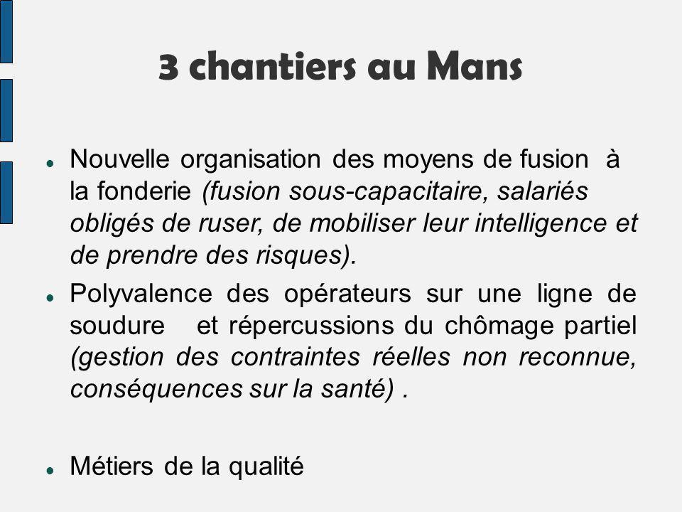 3 chantiers au Mans Nouvelle organisation des moyens de fusion à la fonderie (fusion sous-capacitaire, salariés obligés de ruser, de mobiliser leur in