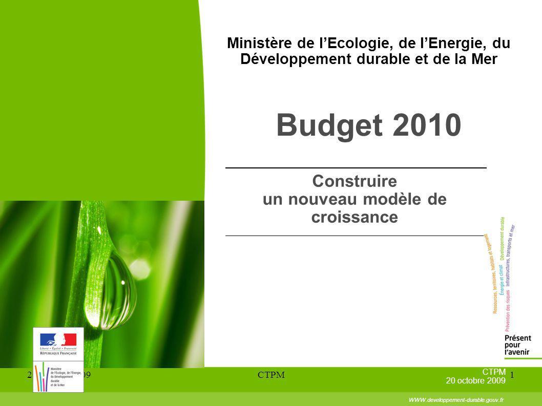20 octobre 2009CTPM1 Ministère de lEcologie, de lEnergie, du Développement durable et de la Mer Budget 2010 Construire un nouveau modèle de croissance