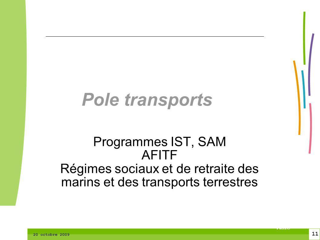 11 CTPM 2 11 CTPM 20 octobre 2009 Pole transports Programmes IST, SAM AFITF Régimes sociaux et de retraite des marins et des transports terrestres