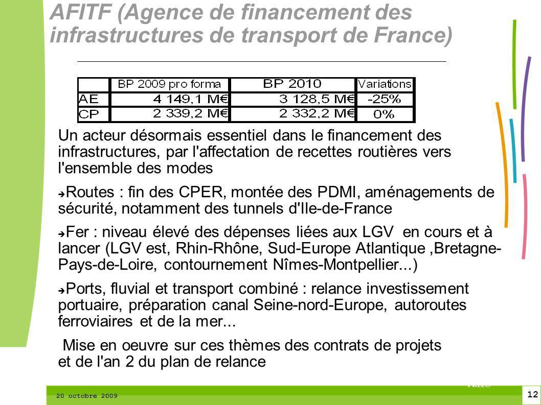 12 CTPM 2 12 CTPM 20 octobre 2009 Un acteur désormais essentiel dans le financement des infrastructures, par l affectation de recettes routières vers l ensemble des modes Routes : fin des CPER, montée des PDMI, aménagements de sécurité, notamment des tunnels d Ile-de-France Fer : niveau élevé des dépenses liées aux LGV en cours et à lancer (LGV est, Rhin-Rhône, Sud-Europe Atlantique,Bretagne- Pays-de-Loire, contournement Nîmes-Montpellier...) Ports, fluvial et transport combiné : relance investissement portuaire, préparation canal Seine-nord-Europe, autoroutes ferroviaires et de la mer...