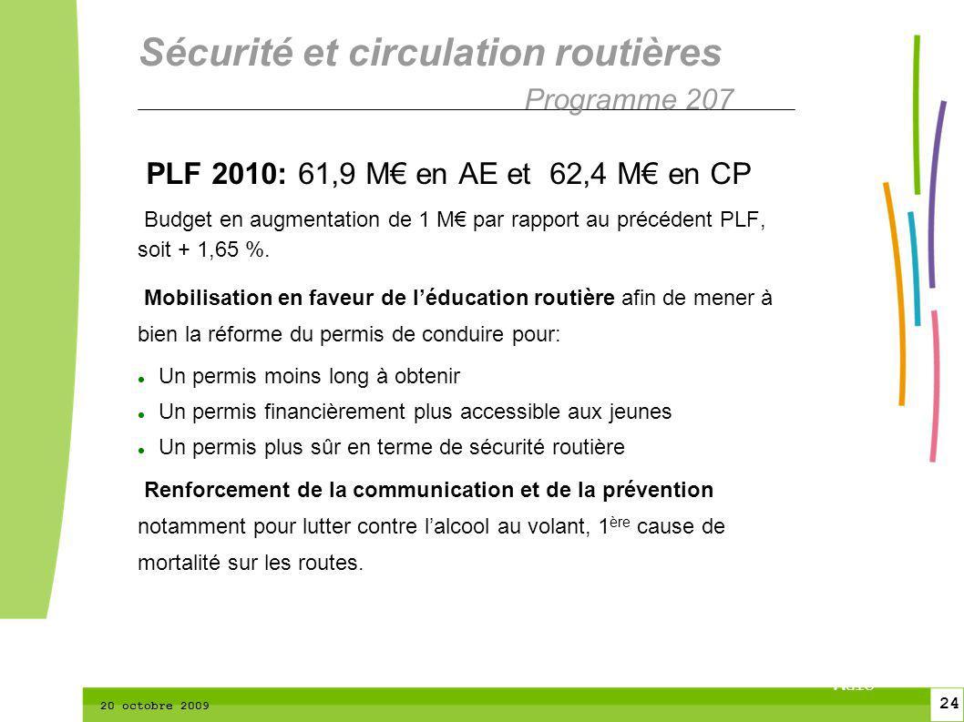 24 CTPM 2 24 CTPM 20 octobre 2009 PLF 2010: 61,9 M en AE et 62,4 M en CP Budget en augmentation de 1 M par rapport au précédent PLF, soit + 1,65 %. Mo