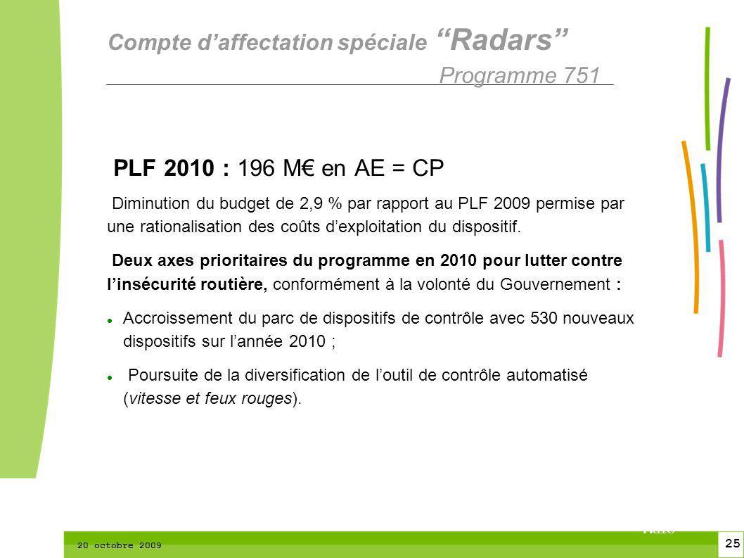 25 CTPM 2 25 CTPM 20 octobre 2009 PLF 2010 : 196 M en AE = CP Diminution du budget de 2,9 % par rapport au PLF 2009 permise par une rationalisation des coûts dexploitation du dispositif.