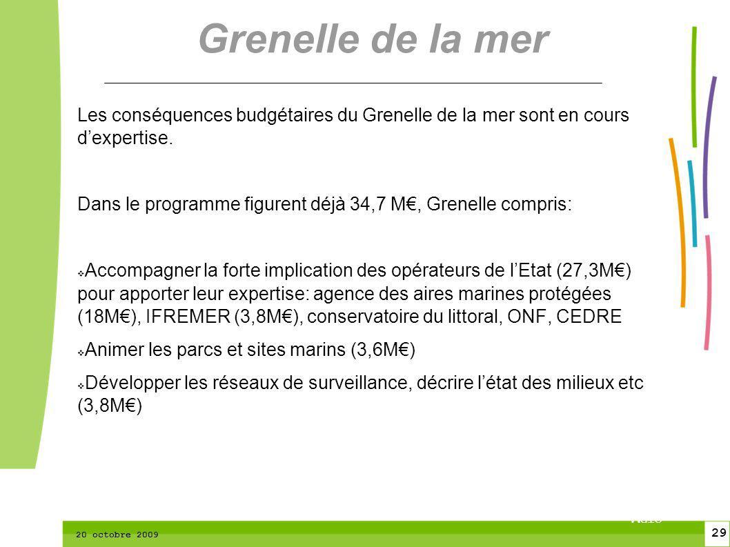29 CTPM 2 29 CTPM 20 octobre 2009 Les conséquences budgétaires du Grenelle de la mer sont en cours dexpertise.