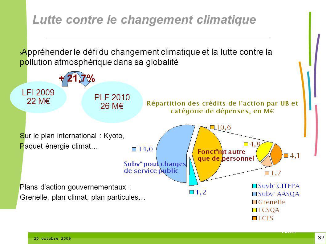 37 CTPM 2 37 CTPM 20 octobre 2009 Appréhender le défi du changement climatique et la lutte contre la pollution atmosphérique dans sa globalité Sur le
