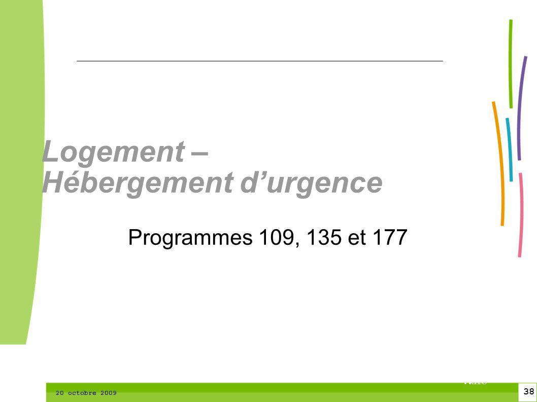 38 CTPM 2 38 CTPM 20 octobre 2009 Logement – Hébergement durgence Programmes 109, 135 et 177