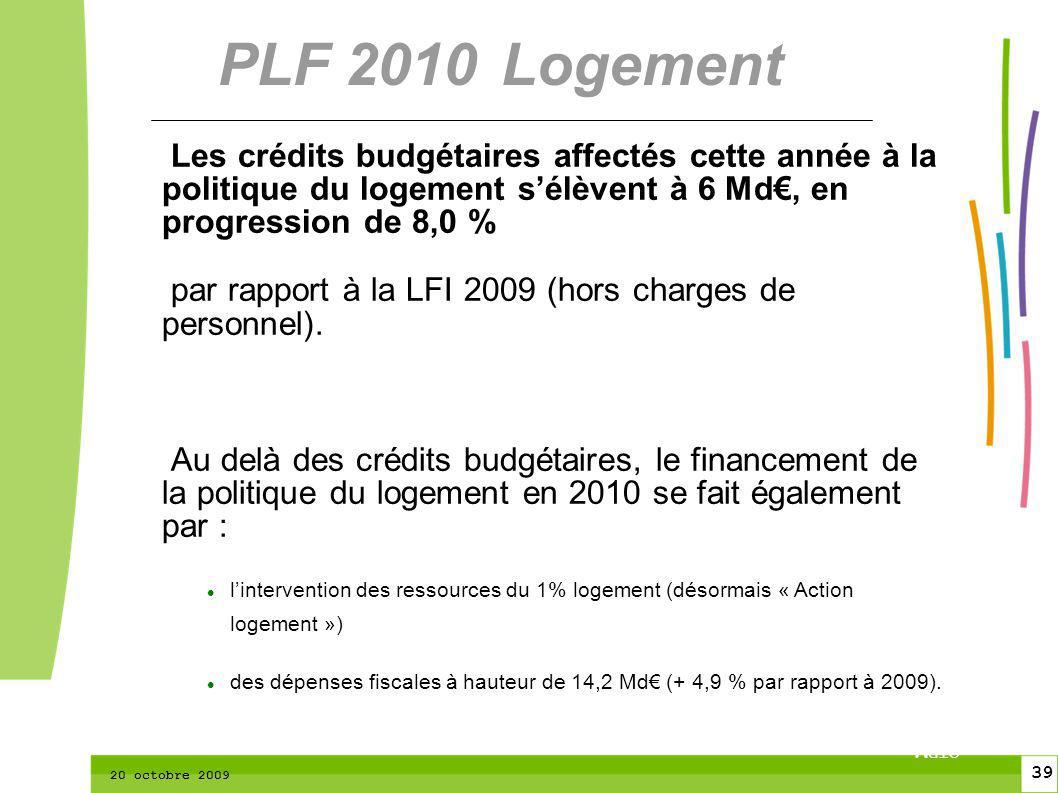 39 CTPM 2 39 CTPM 20 octobre 2009 Les crédits budgétaires affectés cette année à la politique du logement sélèvent à 6 Md, en progression de 8,0 % par rapport à la LFI 2009 (hors charges de personnel).