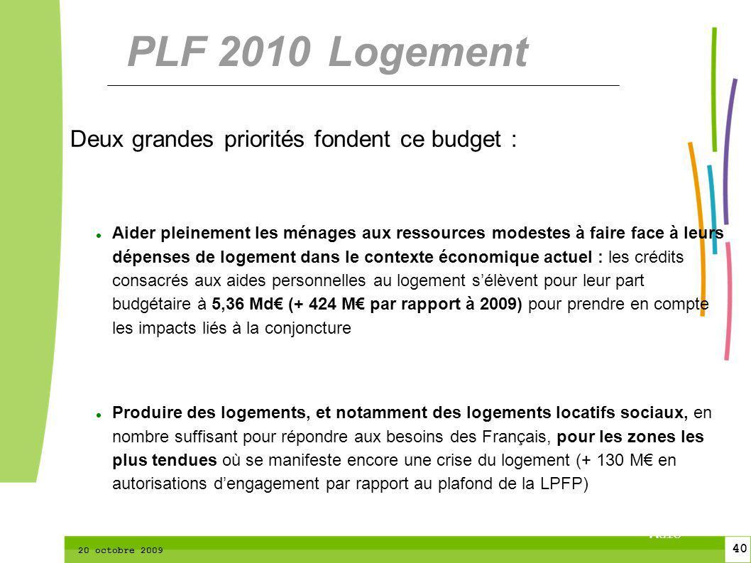 40 CTPM 2 40 CTPM 20 octobre 2009 Deux grandes priorités fondent ce budget : Aider pleinement les ménages aux ressources modestes à faire face à leurs