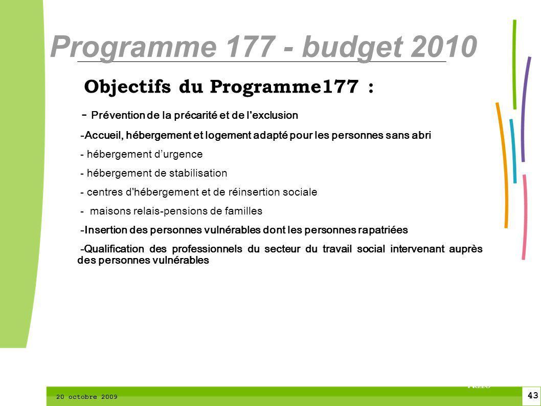 43 CTPM 2 43 CTPM 20 octobre 2009 Objectifs du Programme177 : - Prévention de la précarité et de l'exclusion -Accueil, hébergement et logement adapté