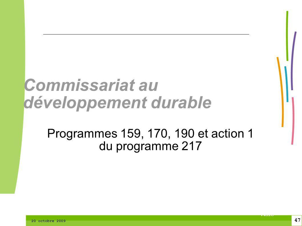 47 CTPM 2 47 CTPM 20 octobre 2009 Commissariat au développement durable Programmes 159, 170, 190 et action 1 du programme 217