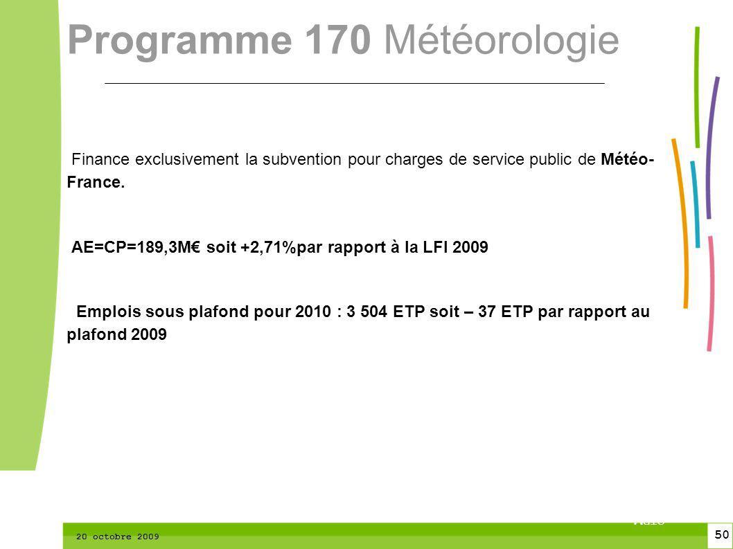 50 CTPM 2 50 CTPM 20 octobre 2009 Finance exclusivement la subvention pour charges de service public de Météo- France. AE=CP=189,3M soit +2,71%par rap