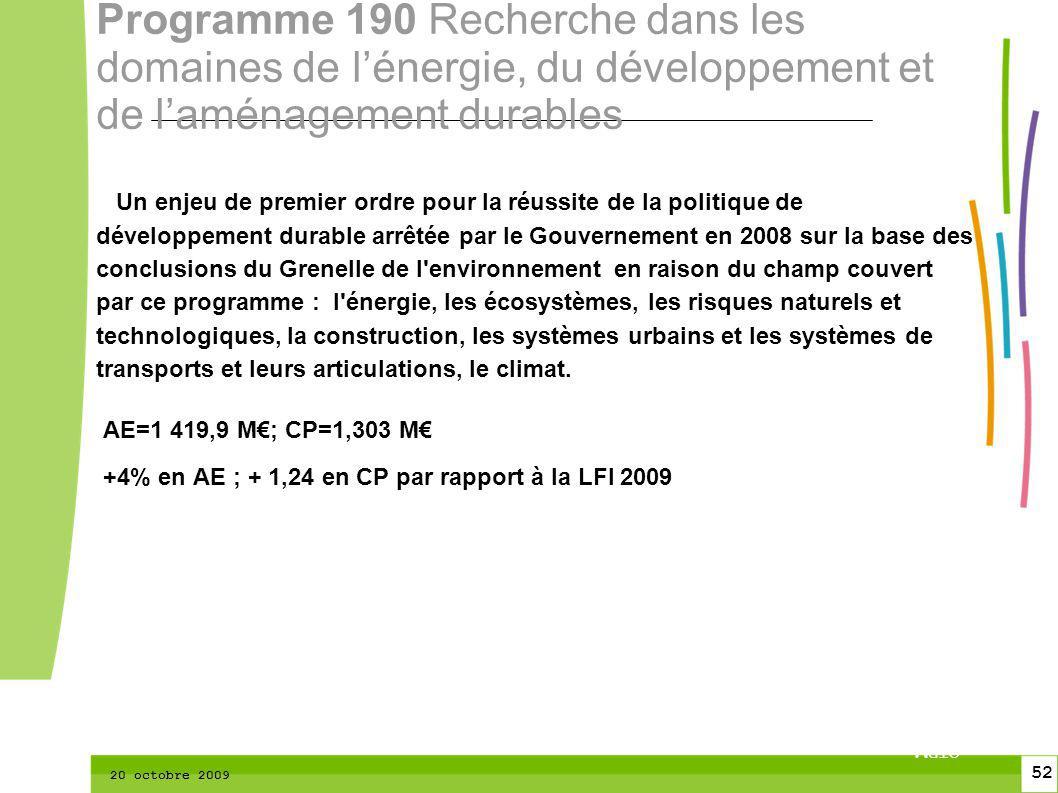 52 CTPM 2 52 CTPM 20 octobre 2009 Un enjeu de premier ordre pour la réussite de la politique de développement durable arrêtée par le Gouvernement en 2