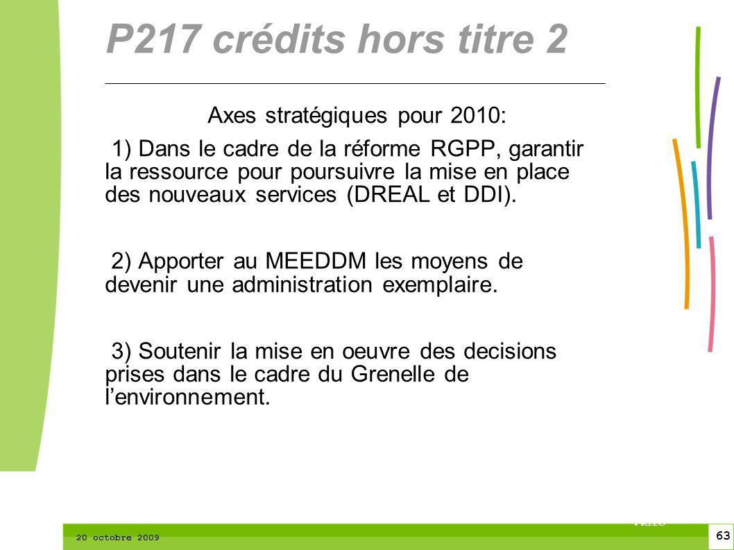 63 CTPM 2 63 CTPM 20 octobre 2009 Axes stratégiques pour 2010: 1) Dans le cadre de la réforme RGPP, garantir la ressource pour poursuivre la mise en place des nouveaux services (DREAL et DDI).