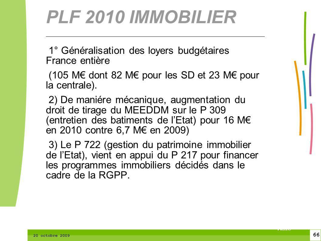 66 CTPM 2 66 CTPM 20 octobre 2009 1° Généralisation des loyers budgétaires France entière (105 M dont 82 M pour les SD et 23 M pour la centrale). 2) D