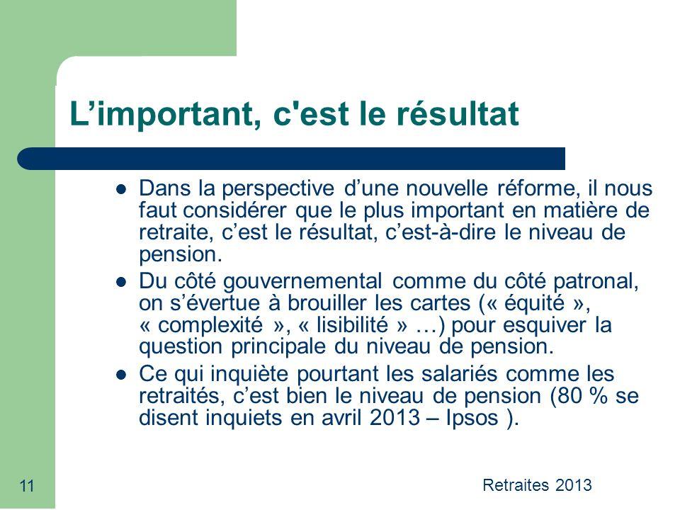 11 Limportant, c'est le résultat Dans la perspective dune nouvelle réforme, il nous faut considérer que le plus important en matière de retraite, cest