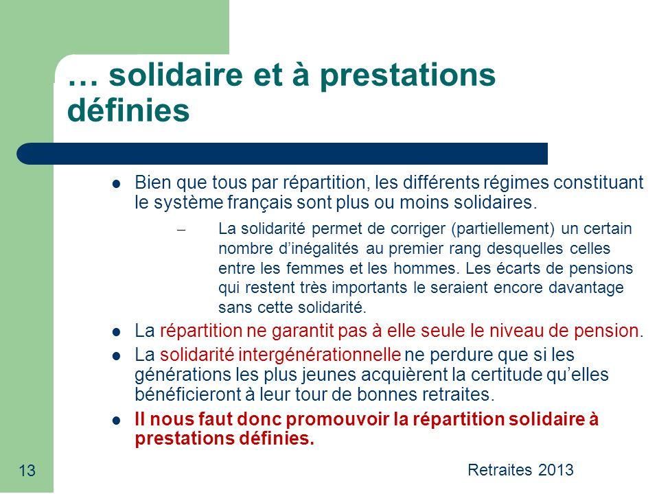 13 … solidaire et à prestations définies Bien que tous par répartition, les différents régimes constituant le système français sont plus ou moins soli