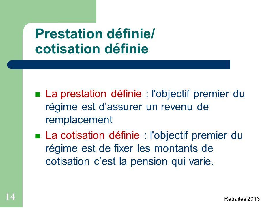 14 Retraites 2013 21 mai 2013 Prestation définie/ cotisation définie La prestation définie : l'objectif premier du régime est d'assurer un revenu de r